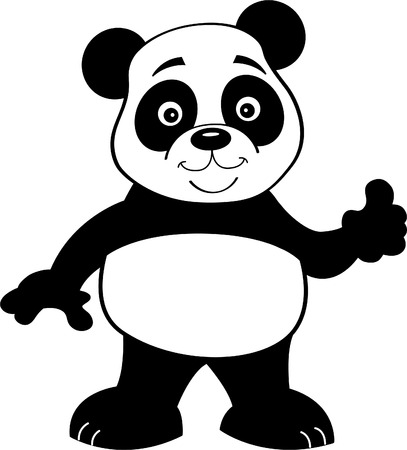 Black and white illustration of a panda bear giving thumbs up.