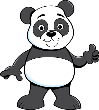Cartoon illustration of a panda bear giving thumbs up. Ilustração