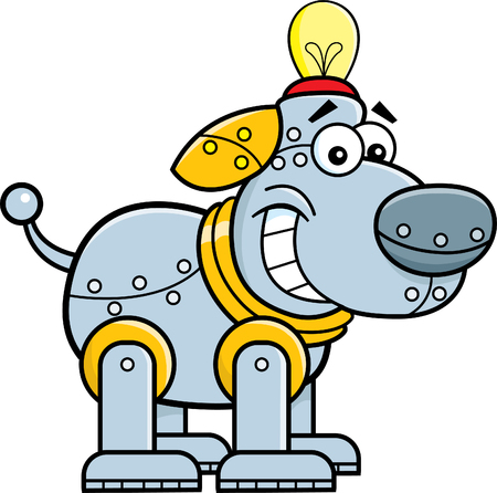 Cartoon illustration of a mechanical dog.