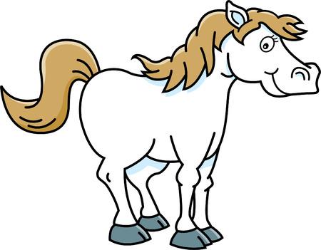 Cartoon illustration of a happy horse.