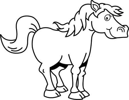 Black and white illustration of a happy horse. Illustration
