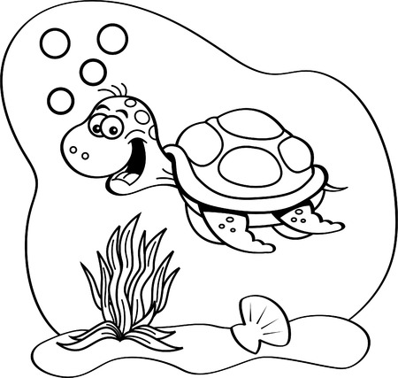 Black and white illustration of a sea turtle swimming underwater. Illustration