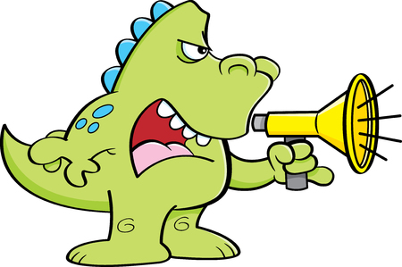 shouting: Cartoon illustration of a dinosaur shouting into a megaphone.