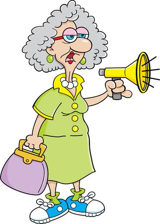 Ilustración de dibujos animados de una anciana gritando en un megáfono.