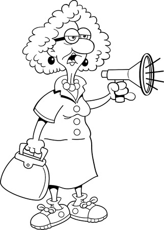 proclaim: Black and white illustration of an old lady shouting into a megaphone.