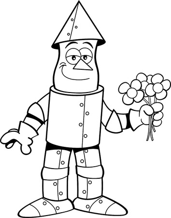 tin: Black and white illustration of a tin man holding flowers.