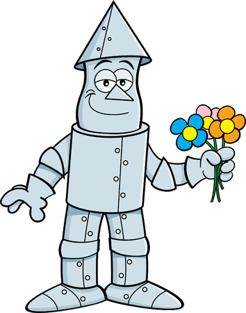 Cartoon illustration of a tin man holding flowers.
