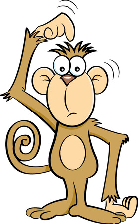 unsure: Cartoon illustration of a confused monkey.