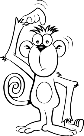 unsure: Black and white illustration of a confused monkey.