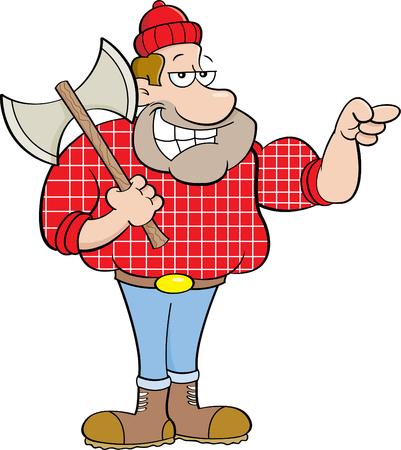 Cartoon illustration of a lumberjack pointing.