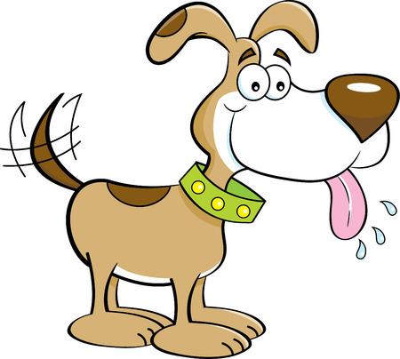 Cartoon illustration of a dog with its tongue out. Illustration
