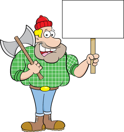 Cartoon illustration of a lumberjack holding a sign.