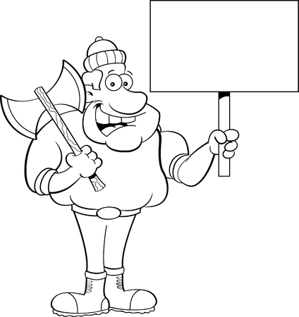 wood cutter: Black and white illustration of a lumberjack holding a sign. Illustration