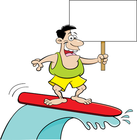 funny guys: Cartoon illustration of a man surfing while holding a sign.