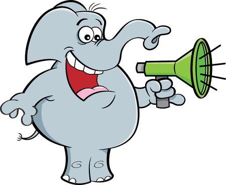 Cartoon illustration of an elephant holding a megaphone.