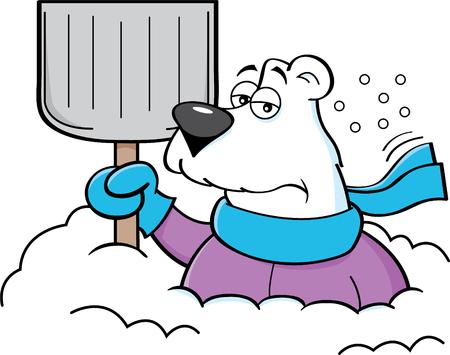 Cartoon ilustracja niedźwiedzia polarnego trzyma śnieżną łopatę. Ilustracje wektorowe