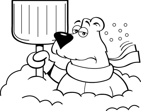 Black and white illustration of a polar bear holding a snow shovel.