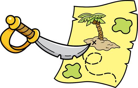 Cartoon illustration of a sword pointing at a treasure map.