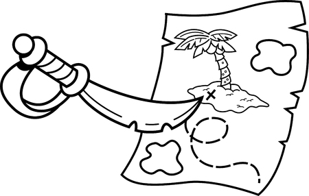 Black and white illustration of a sword pointing at a treasure map.
