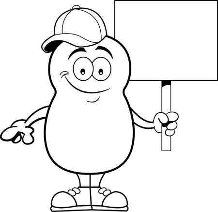 spud: Black and white illustration of a potato holding a sign.