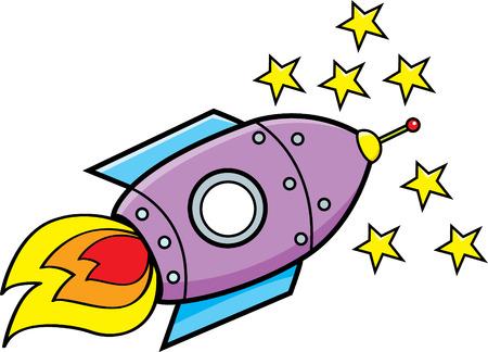 travel star: Cartoon illustration of a spaceship.