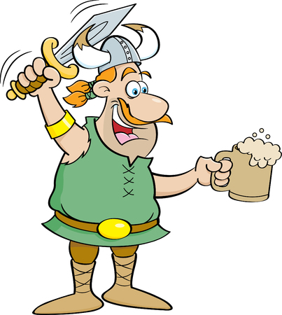 Cartoon illustration of a Viking holding a sword and a mug.