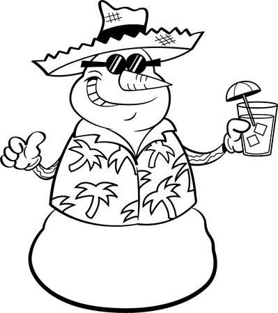cold drinks: Black and white illustration of a snowman wearing a straw hat and holding a tropical drink.