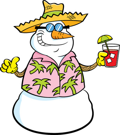 tropical drink: Cartoon illustration of a snowman wearing a straw hat and holding a tropical drink.