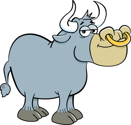 Cartoon illustration of a bull with a ring in its nose.
