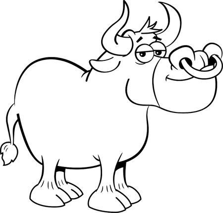 Black and white illustration of a bull with a ring in its nose.