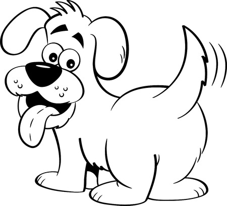 Black and white illustration of a happy dog looking backwards.