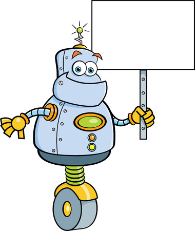 mechanized: Cartoon illustration of a robot holding a sign.