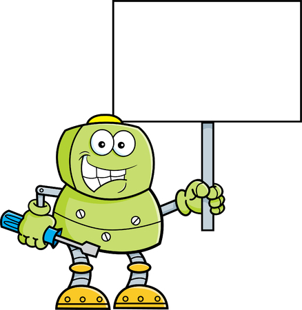 mechanized: Cartoon illustration of a robot holding a wrench and a sign.