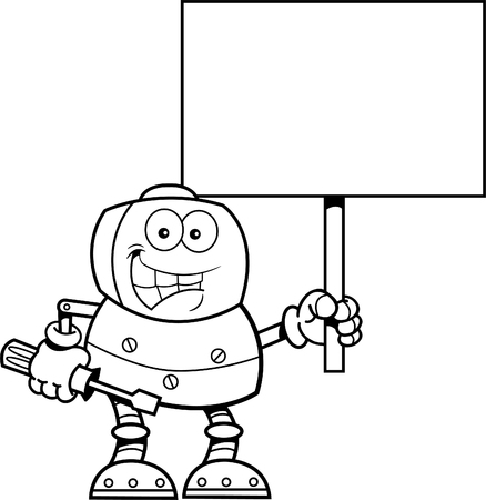 mechanized: Black and white illustration of a robot holding a wrench and a sign.