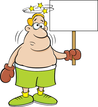 Cartoon illustration of a dizzy boxer holding a sign. Illustration