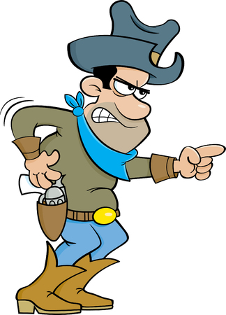 gunslinger: Cartoon illustration of an angry cowboy pointing.