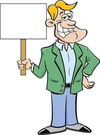 Cartoon illustration of a smiling man holding a sign. Stock fotó - 76469399