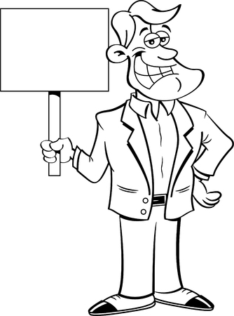 Black and white  illustration of a smiling man holding a sign.
