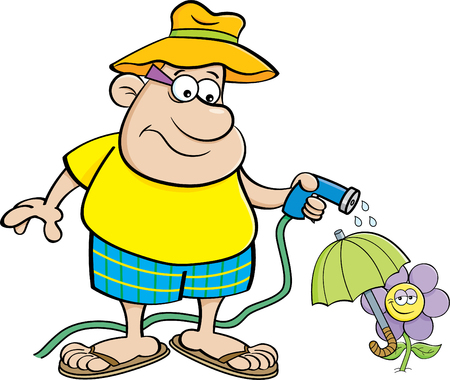 Cartoon illustration of a man watering a flower with a garden hose. Illustration