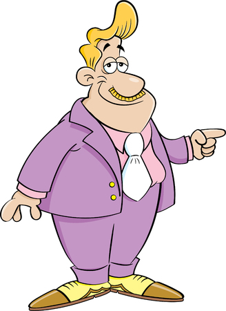 Cartoon illustration of a man wearing a suit pointing. Illustration