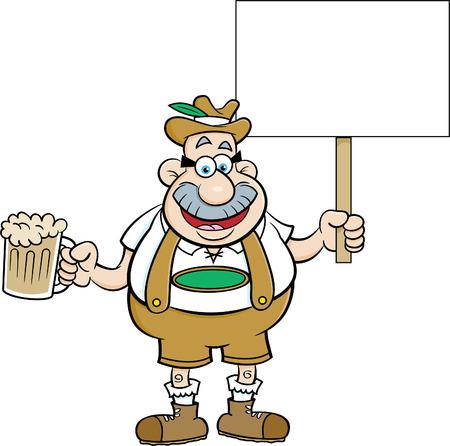 Cartoon illustratie van een man die een biermok en een teken houdt.