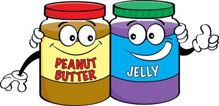 Illustrazione del fumetto di burro di arachidi e vasetti di gelatina. Vettoriali