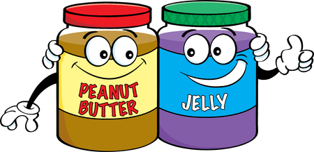 Cartoon illustration of peanut butter and jelly jars.