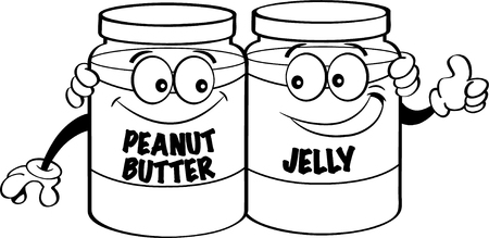 Black and white illustration of peanut butter and jelly jars.