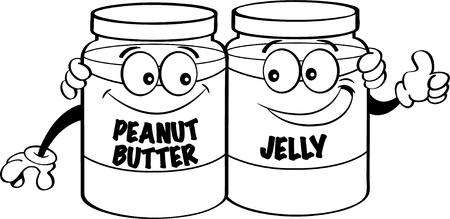 Zwart-witte illustratie van pindakaas en geleikruiken. Stock Illustratie