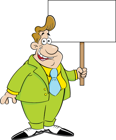humorous: Cartoon illustration of a man in a suit holding a sign.