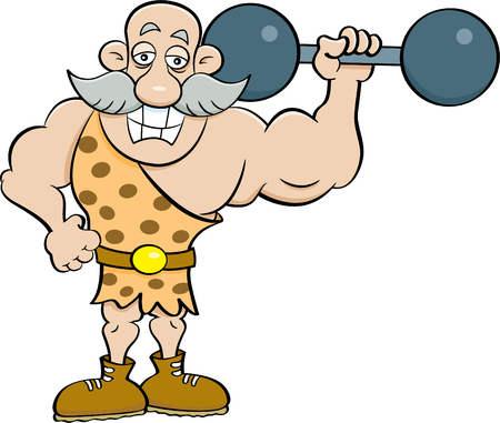 Cartoon illustration of a strongman holding a barbell.