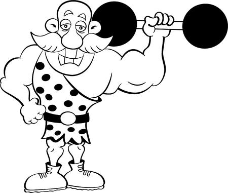 humorous: Black and white illustration of a strongman holding a barbell. Illustration