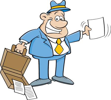 Cartoon illustration of a businessman holding an open briefcase and a paper. Stock fotó - 81168131
