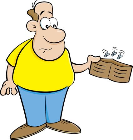 Beeldverhaalillustratie van een mens die een lege portefeuille houdt.